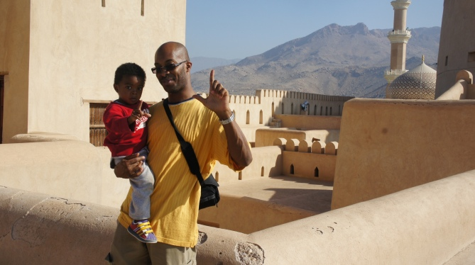 Dad & Son Atop the Fort